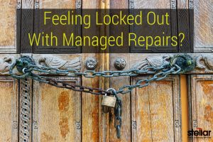 "Wooden front double door with chain and lock; with text overlay that reads"" Feeling Locked Out With Managed Repairs?"""