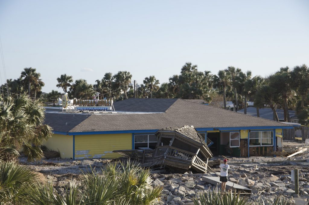 Hurricane Matthew causes damage to restaurant in northeast Florida.